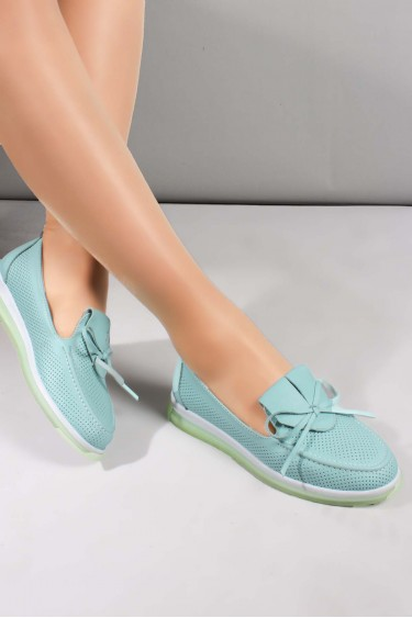 Hakiki Deri Su Yeşili Kadın Casual Ayakkabı 710ZA1001