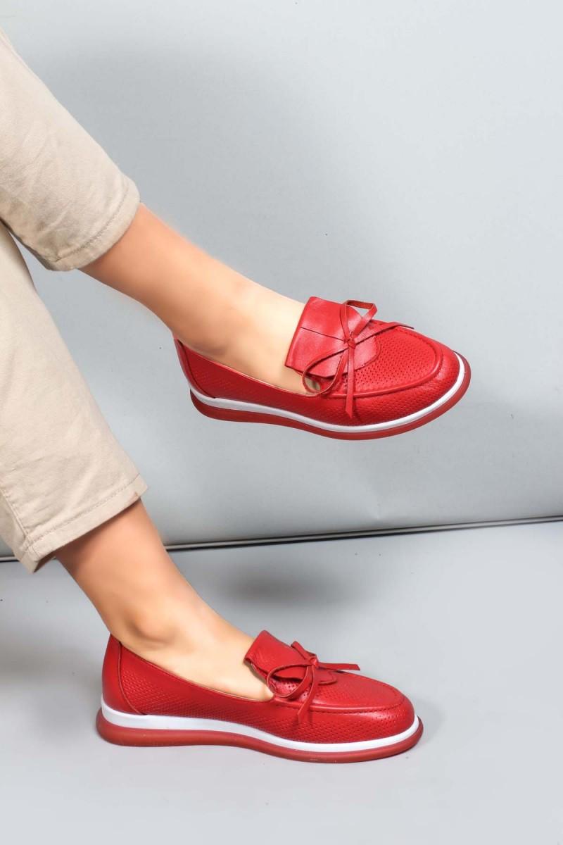 Hakiki Deri Kırmızı Kadın Serisonu Ayakkabı 710ZA1001