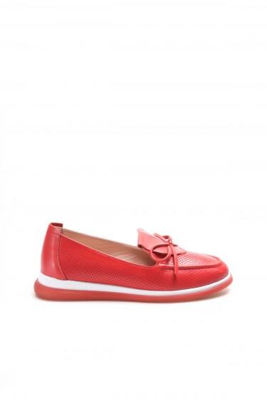Hakiki Deri Kırmızı Kadın Casual Ayakkabı 710ZA1001