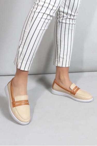 Hakiki Deri Bej Taba Kadın Casual Ayakkabı 710ZA5121