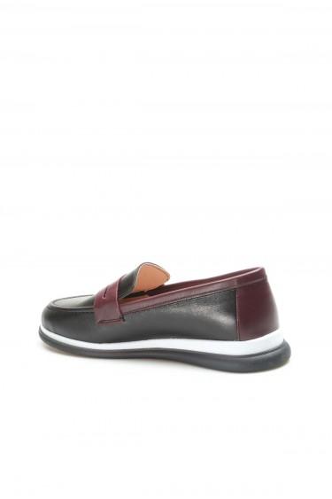 Hakiki Deri Siyah Bordo Kadın Casual Ayakkabı 710ZA5121