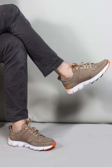 Hakiki Deri V-7 Vizon Nubuk Erkek Günlük Spor Ayakkabı 717MA13232