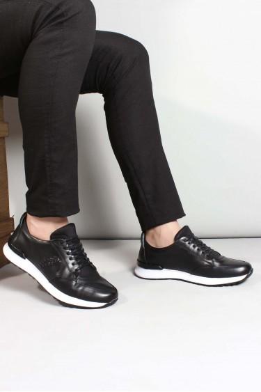 Hakiki Deri Siyah Erkek Günlük Spor Ayakkabı 717MA11177