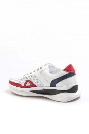 Hakiki Deri 085 Beyaz Kirmizi Erkek Günlük Spor Ayakkabı 722MA551