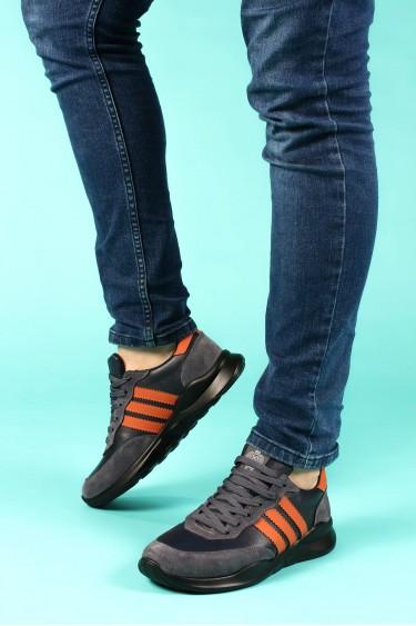 Hakiki Deri Siyah Füme Erkek Günlük Spor Ayakkabı 723MA101