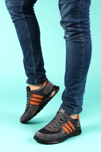 Hakiki Deri Siyah Füme Erkek Sneaker Ayakkabı 723MA101