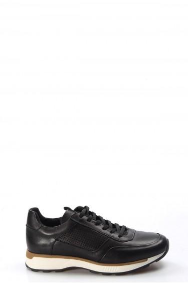 Hakiki Deri Siyah Erkek Günlük Spor Ayakkabı 723MA120