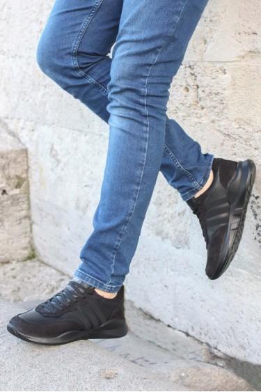 Hakiki Deri Siyah Nubuk Erkek Günlük Spor Ayakkabı 723MA101
