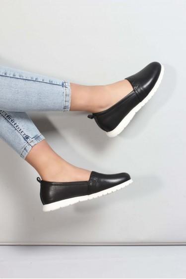 Hakiki Deri Siyah Kadın Casual Ayakkabı 757ZA1033