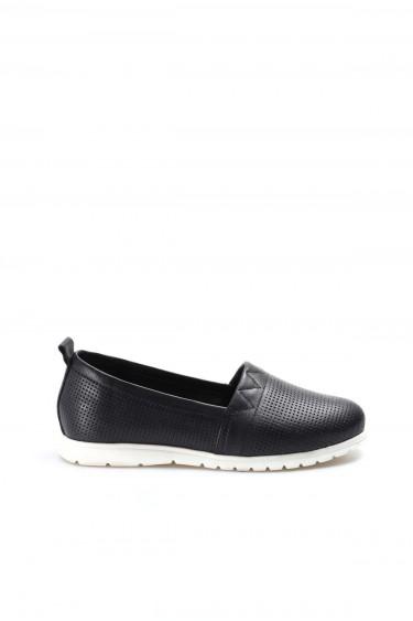 Hakiki Deri Siyah Kadın Casual Ayakkabı 757ZA1034