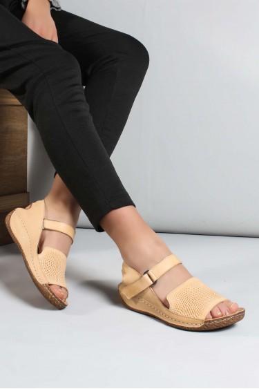 Hakiki Deri Bej Kadın Klasik Sandalet 763ZA07