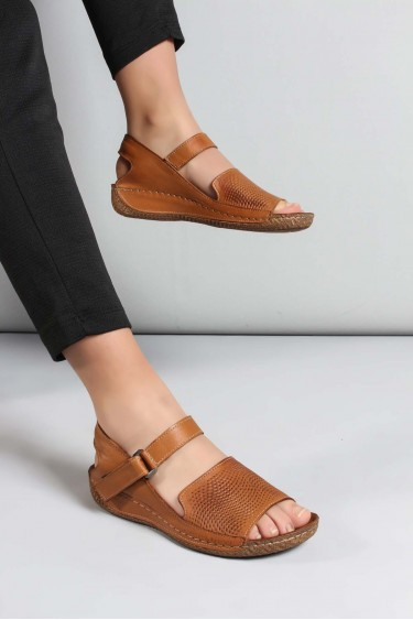 Hakiki Deri Taba Kadın Klasik Sandalet 763ZA07
