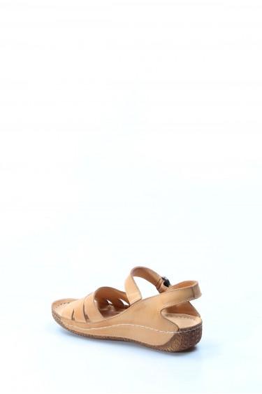 Hakiki Deri Bej Kadın Klasik Sandalet 763ZA05