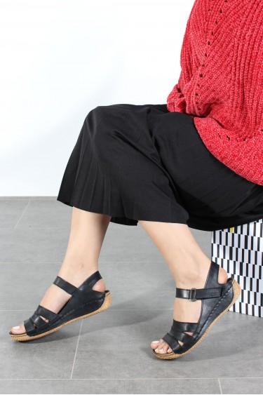 Hakiki Deri Siyah Kadın Klasik Sandalet 763ZA05