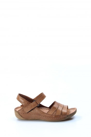 Hakiki Deri Taba Kadın Klasik Sandalet 763ZA05