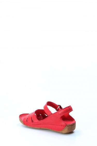 Hakiki Deri Nar Çiçek Kadın Klasik Sandalet 763ZA05