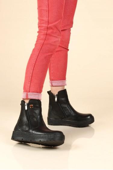 Hakiki Deri Kürklü Siyah Simli Kız Çocuk Klasik Bot 769KFA125