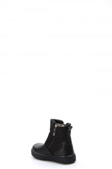 Hakiki Deri Kürklü Siyah Simli Kız Çocuk Klasik Bot 769KBA125