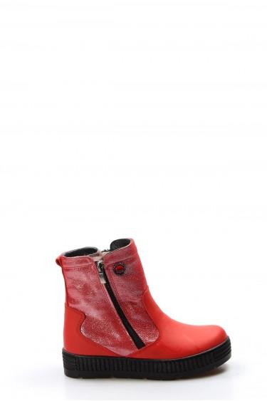 Hakiki Deri Kürklü Kırmızı Simli Kız Çocuk Klasik Bot 769KFA125