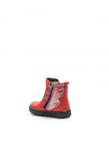 Hakiki Deri Kürklü Kırmızı Simli Kız Çocuk Klasik Bot 769KBA125