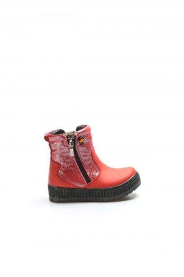 Hakiki Deri Kürklü Kırmızı Simli Kız Çocuk Klasik Bot 769KPA125