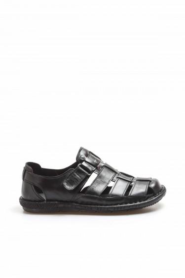 Hakiki Deri Siyah Erkek Klasik Sandalet 819MA025