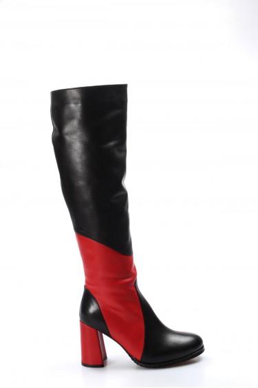 Hakiki Deri Kürklü Siyah Kırmızı Kadın Klasik Çizme 824YZA20339