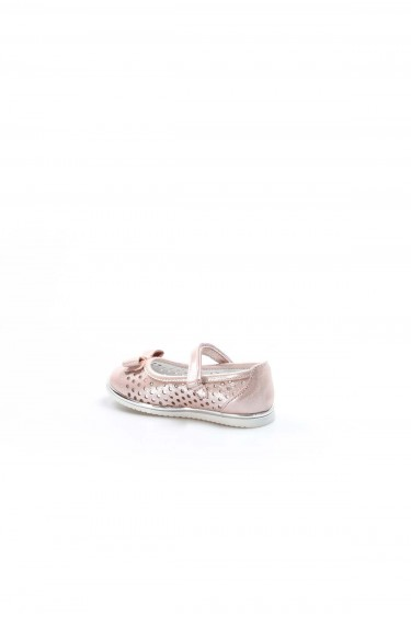 Hakiki Deri Pudra Saten Kız Çocuk Babet Ayakkabı 837BA04