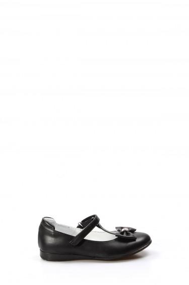 Hakiki Deri Siyah Kız Çocuk Babet Ayakkabı 837FA02
