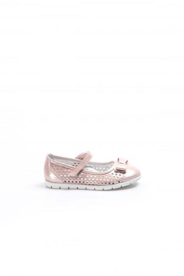 Hakiki Deri Pudra Saten Kız Çocuk Babet Ayakkabı 837PA04