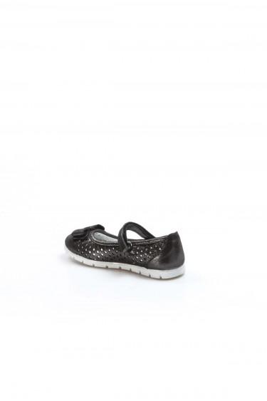 Hakiki Deri Siyah Celik Saten Kız Çocuk Babet Ayakkabı 837PA04