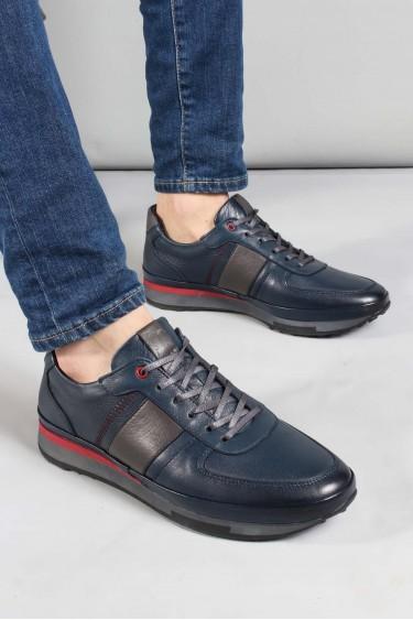 Hakiki Deri Lacivert Erkek Günlük Spor Ayakkabı 855MA1311