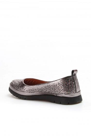Hakiki Deri Platin Kadın Babet Ayakkabı 863ZA517