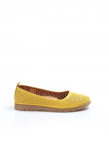 Hakiki Deri Sarı Kadın Babet Ayakkabı 863ZA517