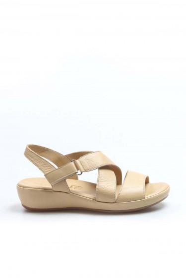 Hakiki Deri Bej Kadın Klasik Sandalet 864ZAR05