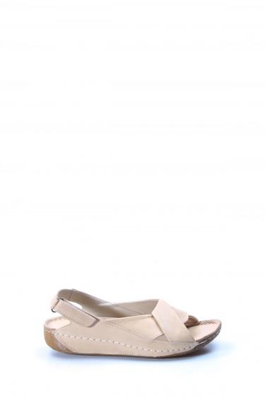 Hakiki Deri Bej Kadın Klasik Sandalet 864ZA610