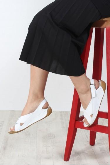Hakiki Deri Beyaz Kadın Klasik Sandalet 864ZA610