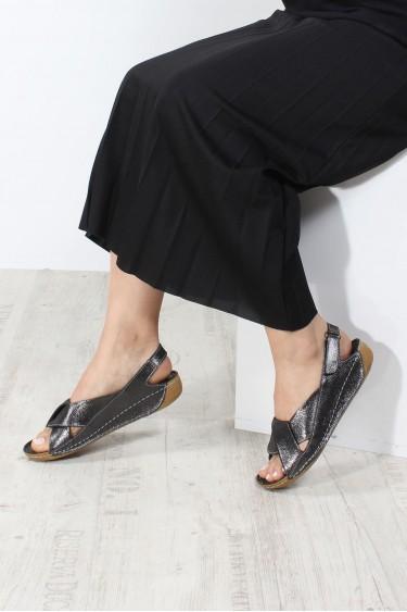 Hakiki Deri Çelik Simli Kadın Klasik Sandalet 864ZA610