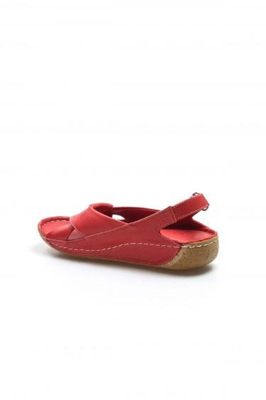 Hakiki Deri Kırmızı Kadın Klasik Sandalet 864ZA610