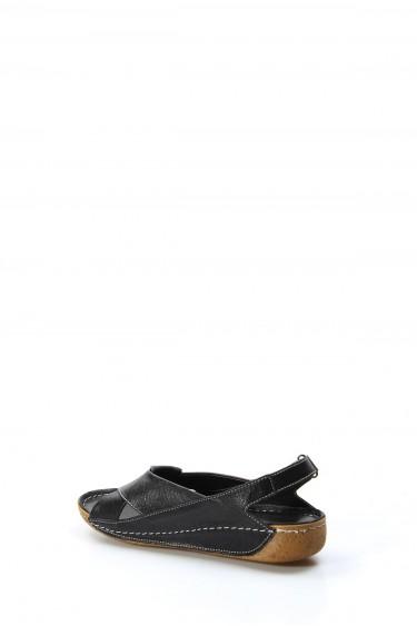 Hakiki Deri Siyah Kadın Klasik Sandalet 864ZA610
