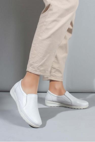 Hakiki Deri Beyaz Kadın Casual Ayakkabı 881ZA1030LZR