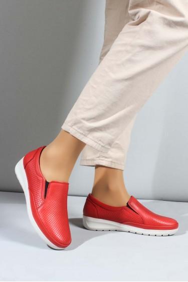 Hakiki Deri Kırmızı Kadın Casual Ayakkabı 881ZA1030LZR