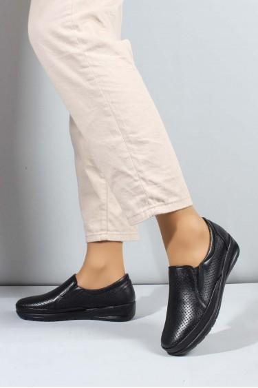 Hakiki Deri Siyah Kadın Casual Ayakkabı 881ZA1030LZR