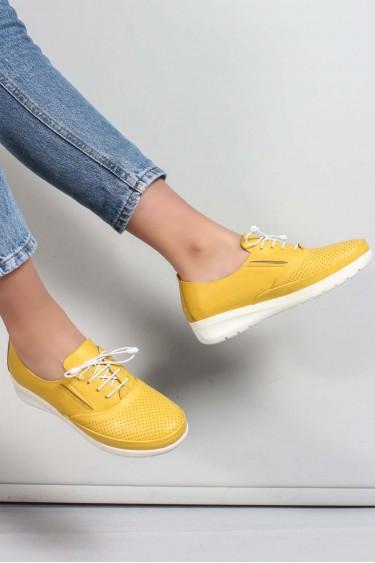 Hakiki Deri Sarı Kadın Casual Ayakkabı 881ZA1080LZR
