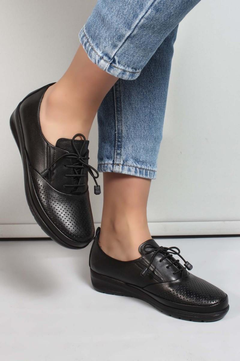 Hakiki Deri Siyah Kadın Serisonu Ayakkabı 881ZA1080LZR