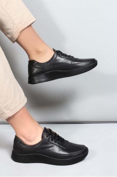 Hakiki Deri Siyah Kadın Casual Ayakkabı 881ZA1080