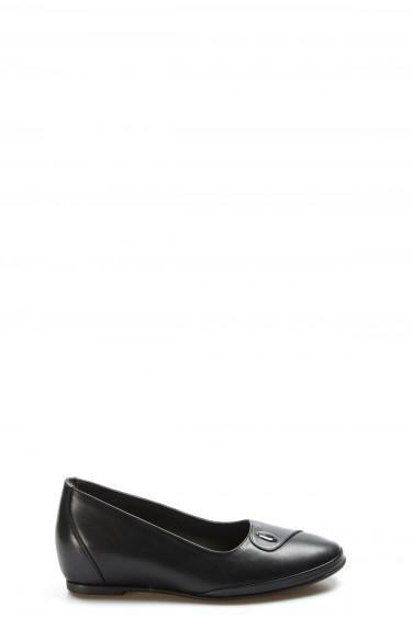 Hakiki Deri Siyah Kadın Babet Ayakkabı 889ZA5014