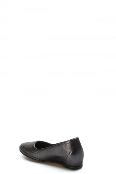 Hakiki Deri Siyah Saten Kadın Babet Ayakkabı 889ZA5014