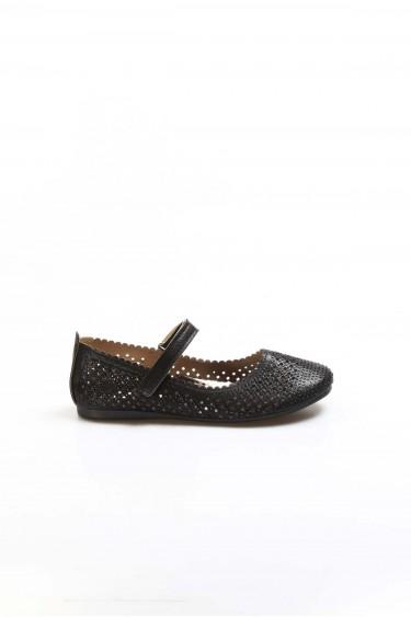 Siyah Simli Kız Çocuk Babet Ayakkabı 891FA509