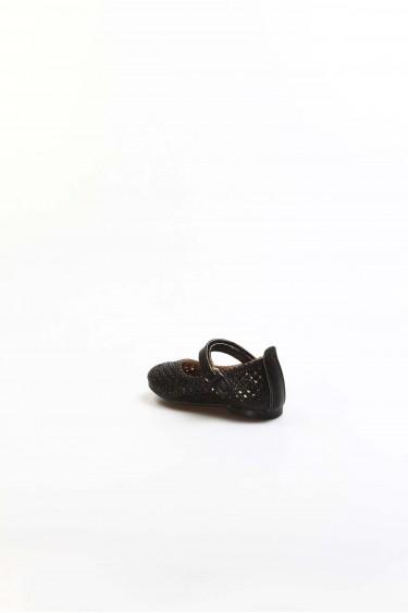 Siyah Simli Bebek Babet Ayakkabı 891IA509